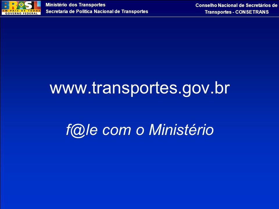 Ministério dos Transportes Secretaria de Política Nacional de Transportes Conselho Nacional de Secretários de Transportes - CONSETRANS www.transportes