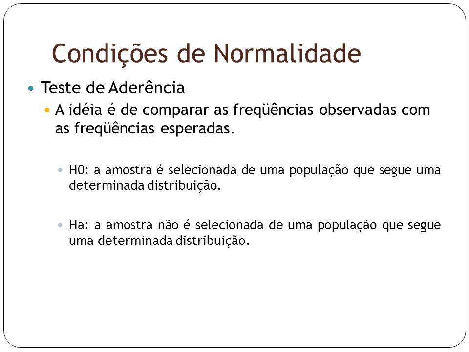 Condições de Normalidade  Teste de Aderência  A idéia é de comparar as freqüências observadas com as freqüências esperadas.  H0: a amostra é seleci