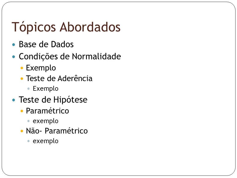 Tópicos Abordados  Base de Dados  Condições de Normalidade  Exemplo  Teste de Aderência  Exemplo  Teste de Hipótese  Paramétrico  exemplo  Nã