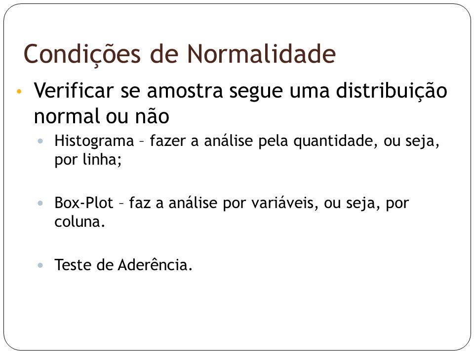 Condições de Normalidade • Verificar se amostra segue uma distribuição normal ou não  Histograma – fazer a análise pela quantidade, ou seja, por linh