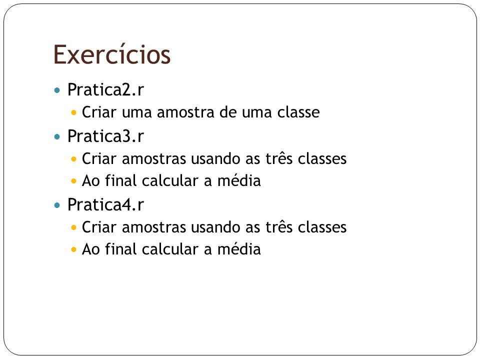 Exercícios  Pratica2.r  Criar uma amostra de uma classe  Pratica3.r  Criar amostras usando as três classes  Ao final calcular a média  Pratica4.