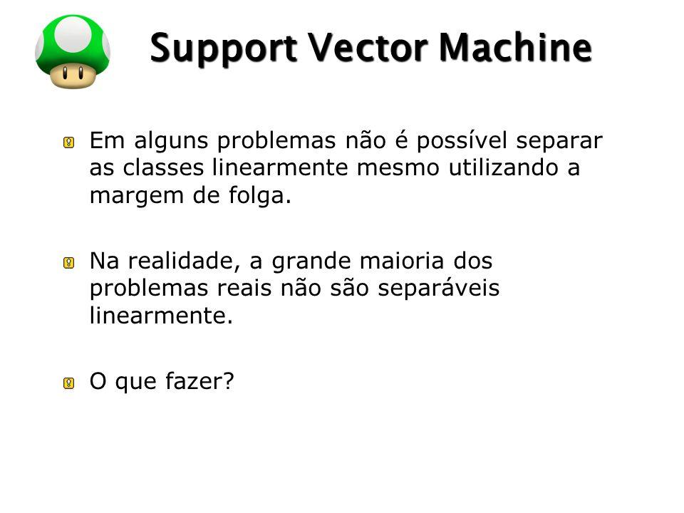 LOGO Support Vector Machine Em alguns problemas não é possível separar as classes linearmente mesmo utilizando a margem de folga. Na realidade, a gran