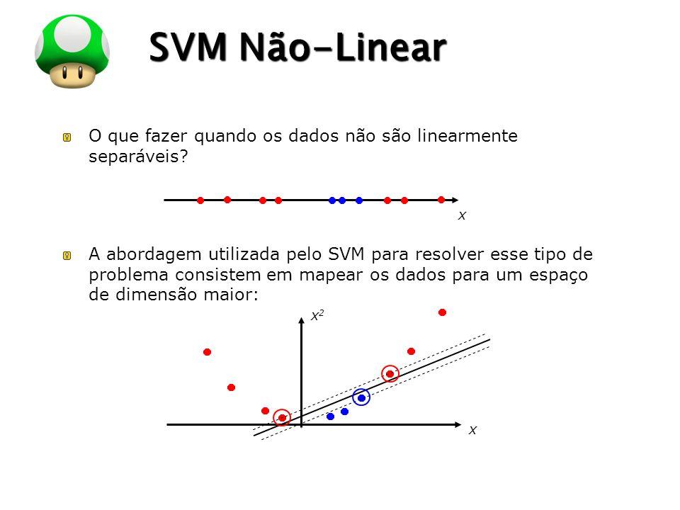 LOGO SVM Não-Linear O que fazer quando os dados não são linearmente separáveis? A abordagem utilizada pelo SVM para resolver esse tipo de problema con