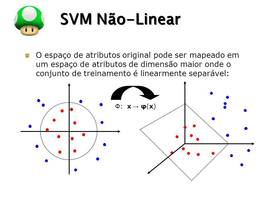 LOGO SVM Não-Linear O espaço de atributos original pode ser mapeado em um espaço de atributos de dimensão maior onde o conjunto de treinamento é linea