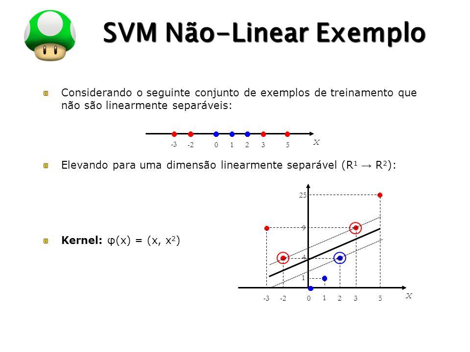 LOGO SVM Não-Linear Exemplo Considerando o seguinte conjunto de exemplos de treinamento que não são linearmente separáveis: Elevando para uma dimensão