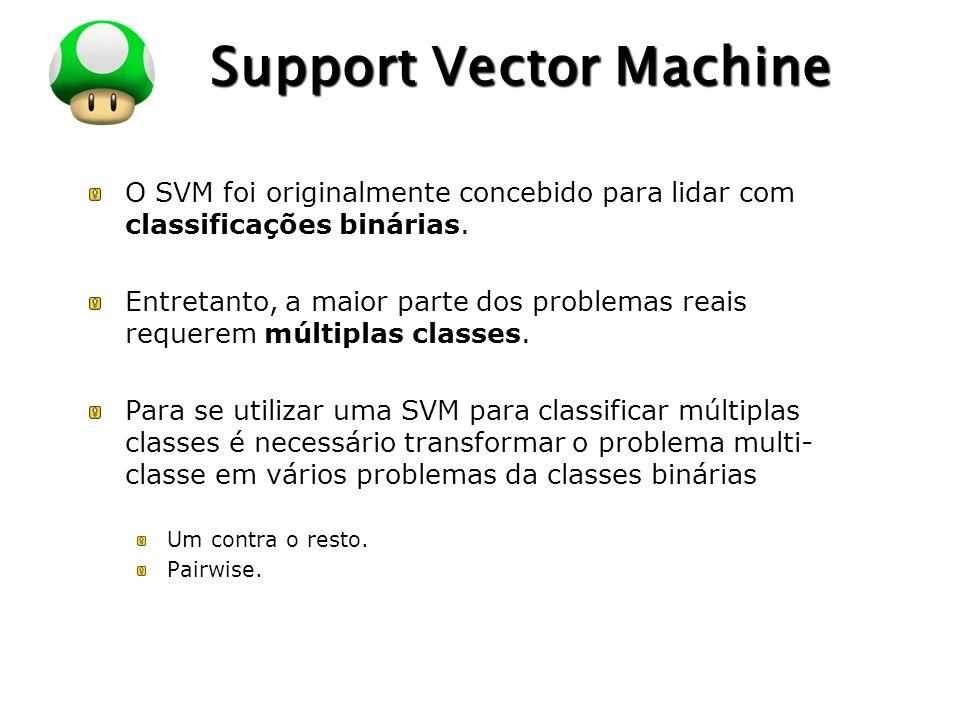 LOGO Support Vector Machine O SVM foi originalmente concebido para lidar com classificações binárias. Entretanto, a maior parte dos problemas reais re