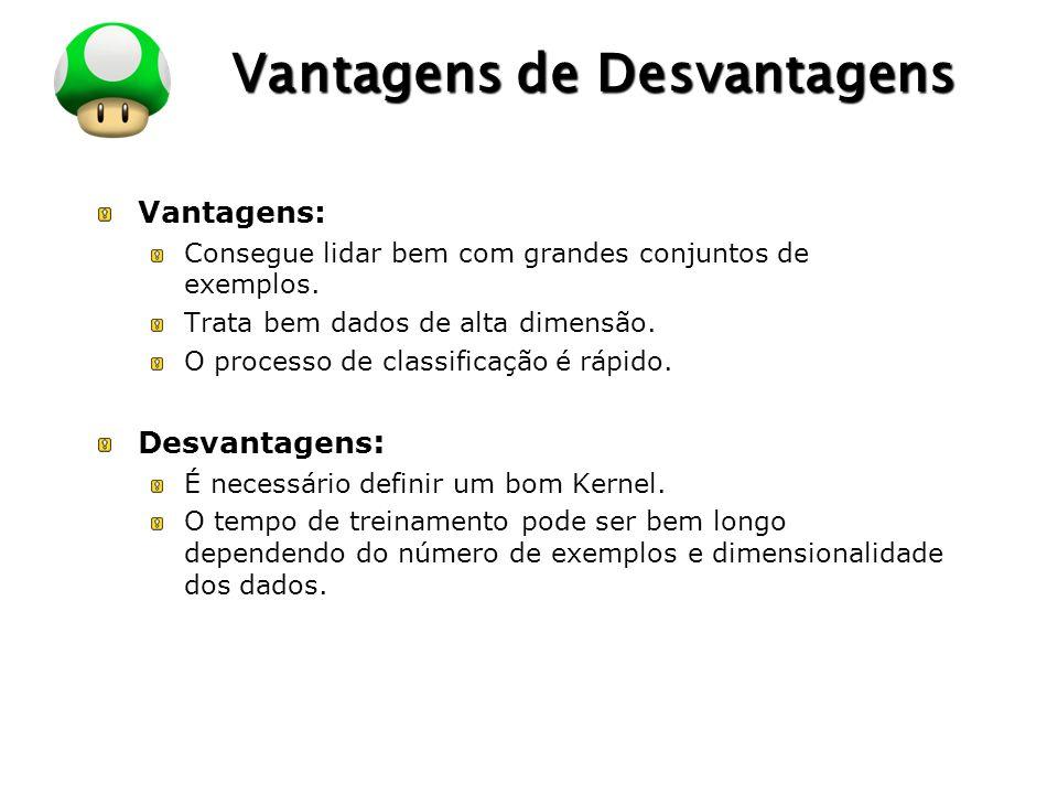 LOGO Vantagens de Desvantagens Vantagens: Consegue lidar bem com grandes conjuntos de exemplos. Trata bem dados de alta dimensão. O processo de classi