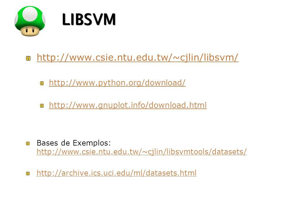 LOGO LIBSVM http://www.csie.ntu.edu.tw/~cjlin/libsvm/ http://www.python.org/download/ http://www.gnuplot.info/download.html Bases de Exemplos: http://