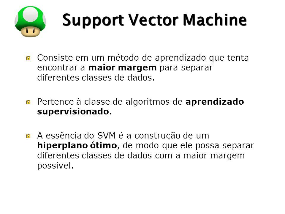 LOGO Support Vector Machine Consiste em um método de aprendizado que tenta encontrar a maior margem para separar diferentes classes de dados. Pertence