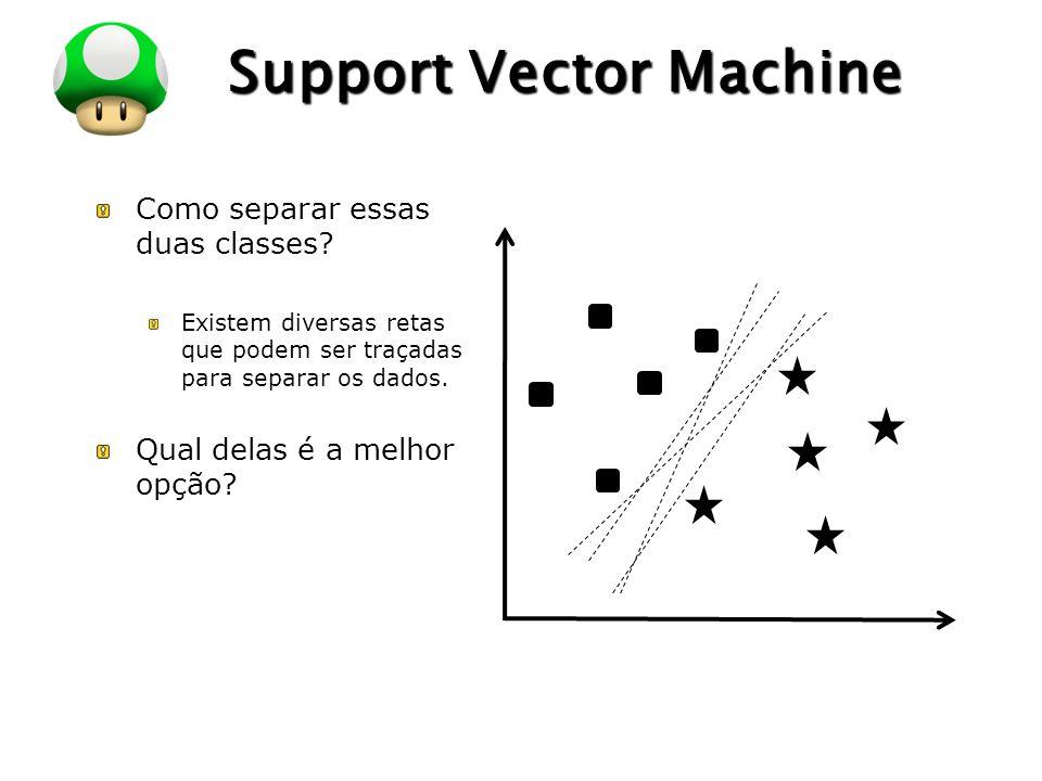 LOGO Support Vector Machine Como separar essas duas classes? Existem diversas retas que podem ser traçadas para separar os dados. Qual delas é a melho