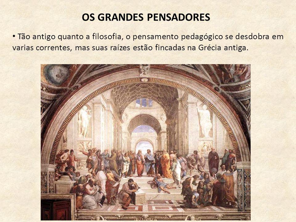 OS GRANDES PENSADORES • Tão antigo quanto a filosofia, o pensamento pedagógico se desdobra em varias correntes, mas suas raízes estão fincadas na Gréc