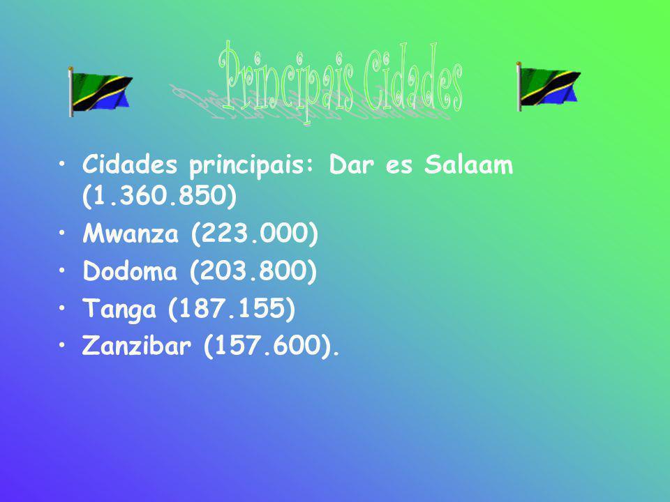 •Cidades principais: Dar es Salaam (1.360.850) •Mwanza (223.000) •Dodoma (203.800) •Tanga (187.155) •Zanzibar (157.600).