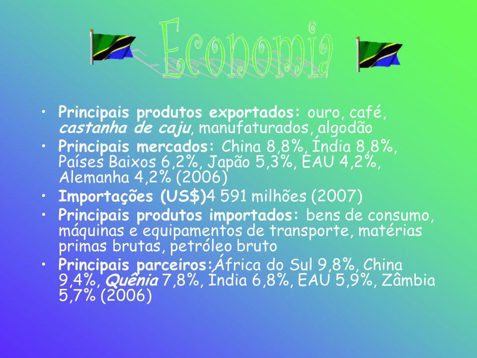 •Principais produtos exportados: ouro, café, castanha de caju, manufaturados, algodão •Principais mercados: China 8,8%, Índia 8,8%, Países Baixos 6,2%