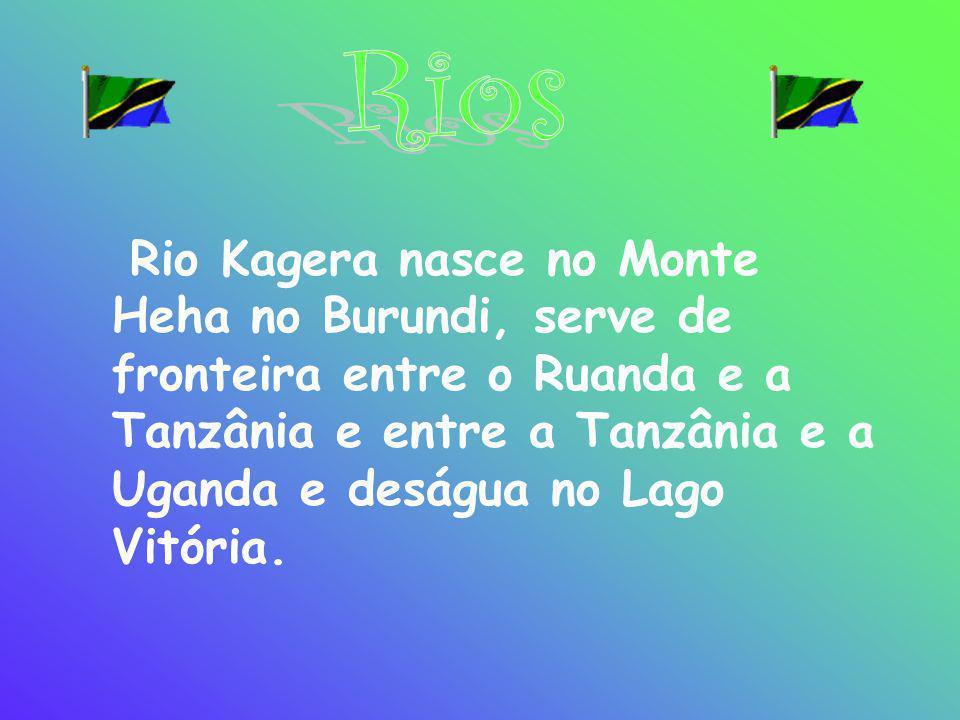 Rio Kagera nasce no Monte Heha no Burundi, serve de fronteira entre o Ruanda e a Tanzânia e entre a Tanzânia e a Uganda e deságua no Lago Vitória.