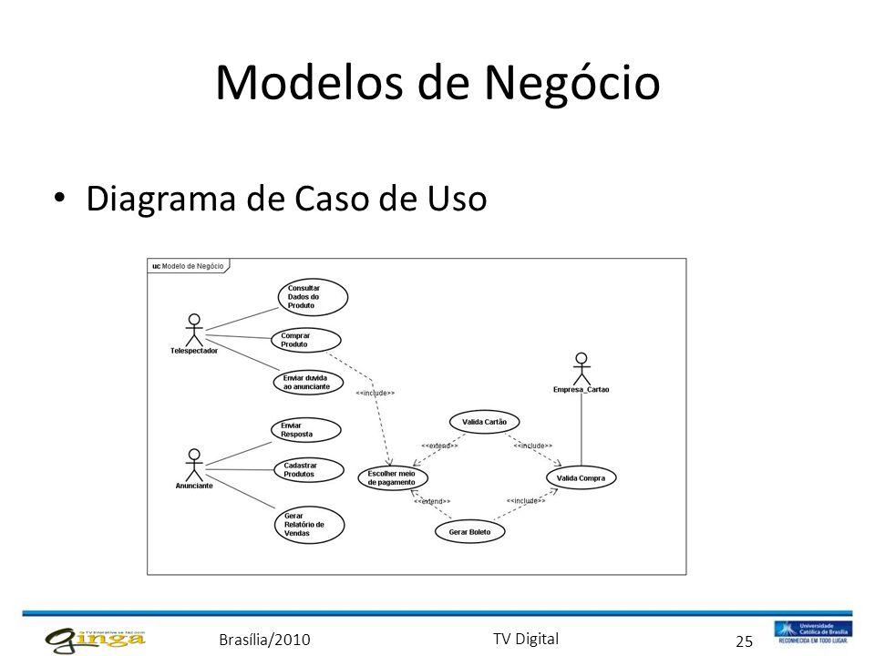 Brasília/2010 TV Digital 25 Modelos de Negócio • Diagrama de Caso de Uso
