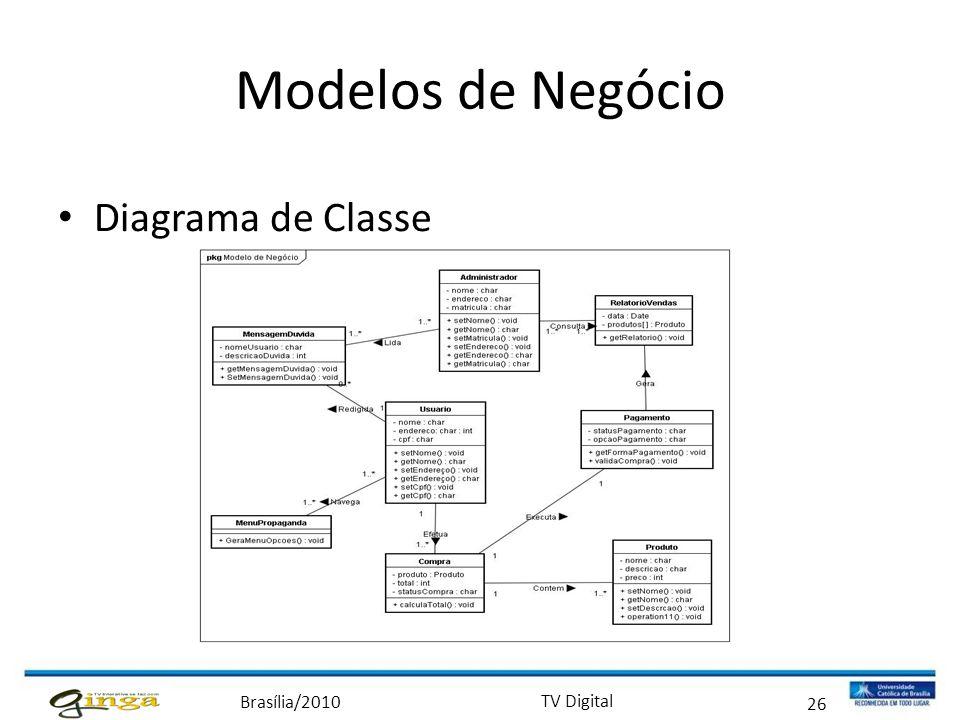 Brasília/2010 TV Digital 26 Modelos de Negócio • Diagrama de Classe