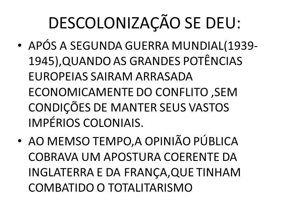 DESCOLONIZAÇÃO SE DEU: • APÓS A SEGUNDA GUERRA MUNDIAL(1939- 1945),QUANDO AS GRANDES POTÊNCIAS EUROPEIAS SAIRAM ARRASADA ECONOMICAMENTE DO CONFLITO,SEM CONDIÇÕES DE MANTER SEUS VASTOS IMPÉRIOS COLONIAIS.
