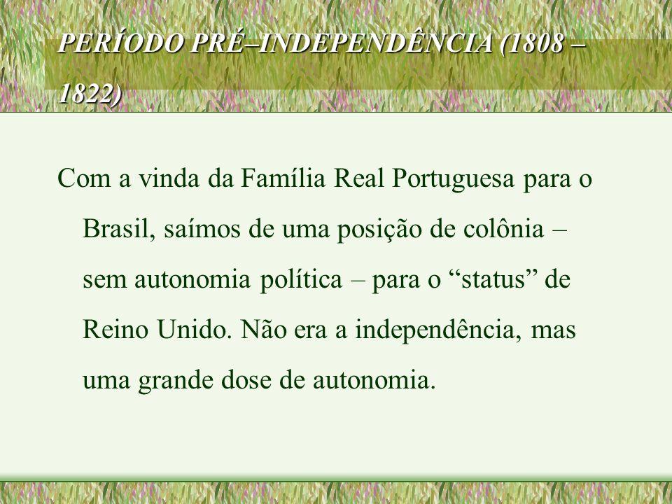 PERÍODO PRÉ–INDEPENDÊNCIA (1808 – 1822) Com a vinda da Família Real Portuguesa para o Brasil, saímos de uma posição de colônia – sem autonomia polític