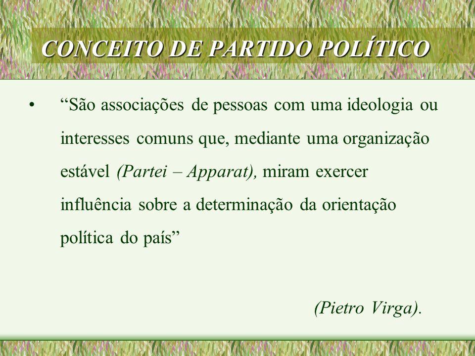 """CONCEITO DE PARTIDO POLÍTICO •""""São associações de pessoas com uma ideologia ou interesses comuns que, mediante uma organização estável (Partei – Appar"""