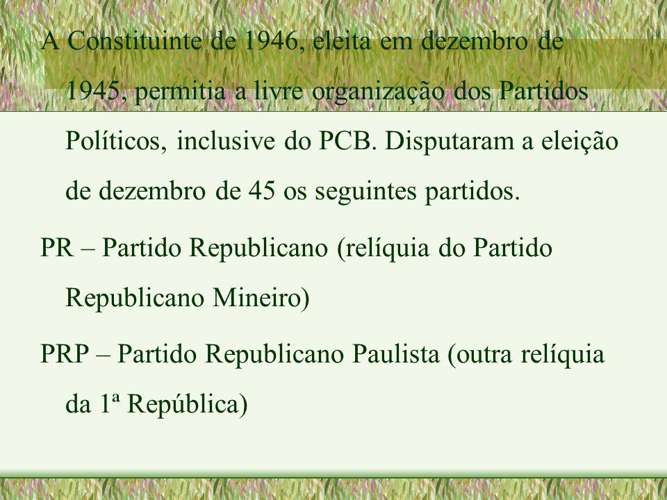 A Constituinte de 1946, eleita em dezembro de 1945, permitia a livre organização dos Partidos Políticos, inclusive do PCB. Disputaram a eleição de dez