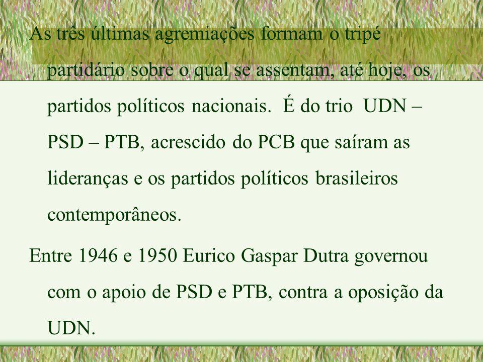 As três últimas agremiações formam o tripé partidário sobre o qual se assentam, até hoje, os partidos políticos nacionais. É do trio UDN – PSD – PTB,
