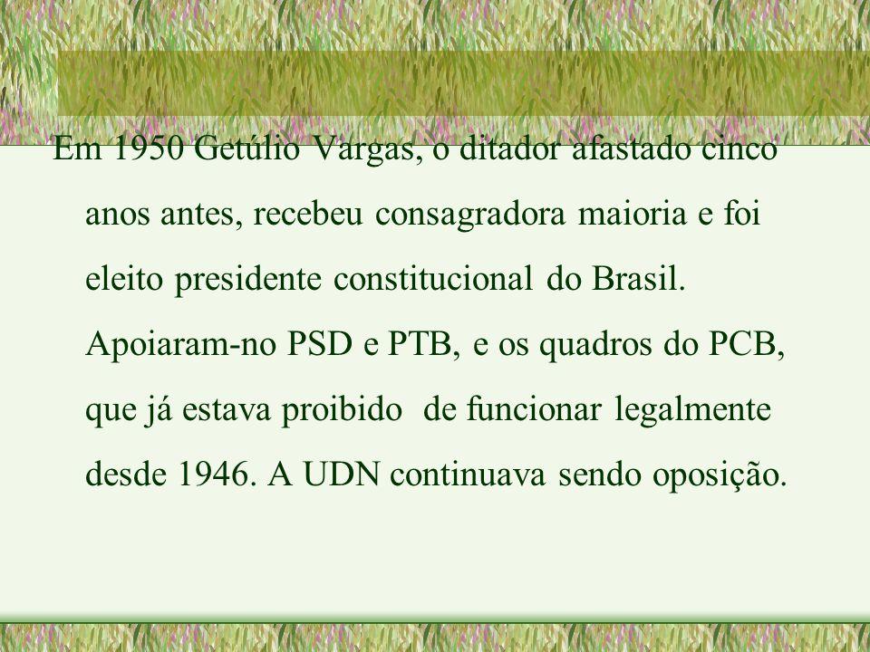 Em 1950 Getúlio Vargas, o ditador afastado cinco anos antes, recebeu consagradora maioria e foi eleito presidente constitucional do Brasil. Apoiaram-n