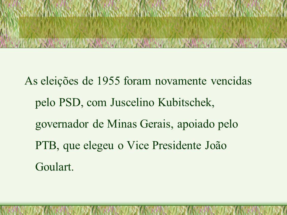 As eleições de 1955 foram novamente vencidas pelo PSD, com Juscelino Kubitschek, governador de Minas Gerais, apoiado pelo PTB, que elegeu o Vice Presi