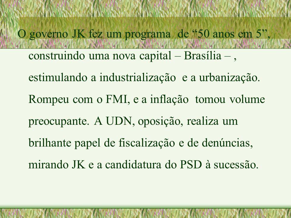 """O governo JK fez um programa de """"50 anos em 5"""", construindo uma nova capital – Brasília –, estimulando a industrialização e a urbanização. Rompeu com"""
