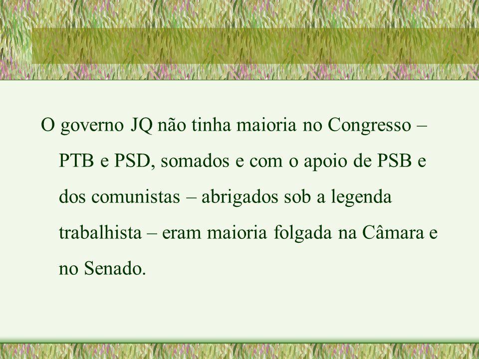 O governo JQ não tinha maioria no Congresso – PTB e PSD, somados e com o apoio de PSB e dos comunistas – abrigados sob a legenda trabalhista – eram ma