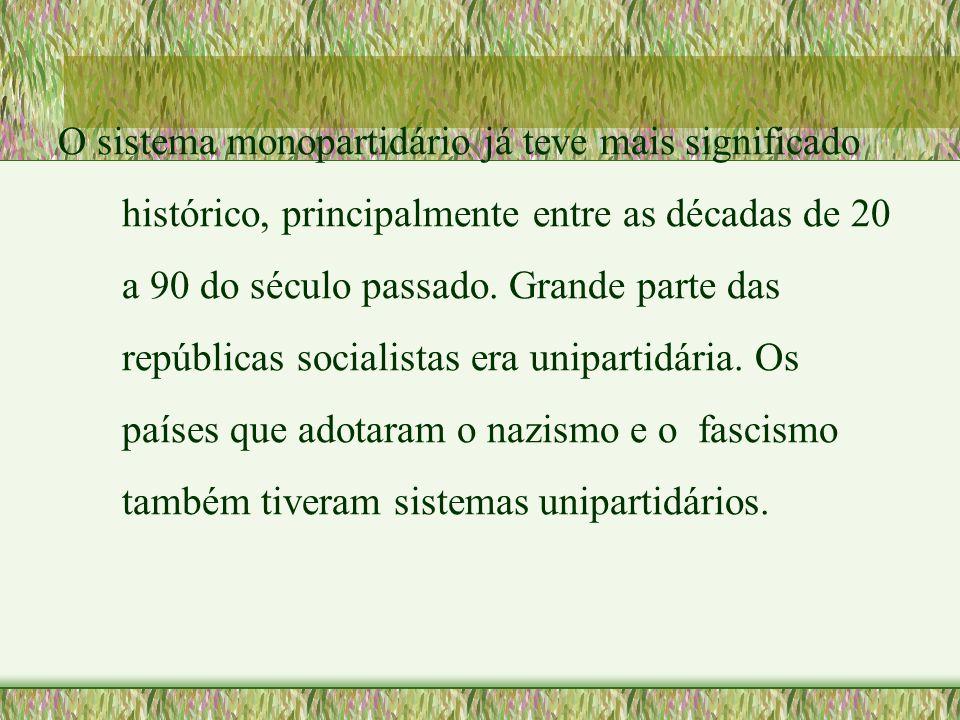 O sistema monopartidário já teve mais significado histórico, principalmente entre as décadas de 20 a 90 do século passado. Grande parte das repúblicas