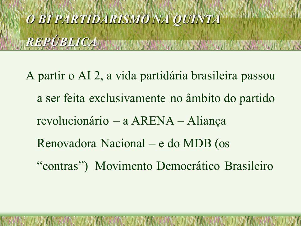 O BI PARTIDARISMO NA QUINTA REPÚBLICA A partir o AI 2, a vida partidária brasileira passou a ser feita exclusivamente no âmbito do partido revolucioná