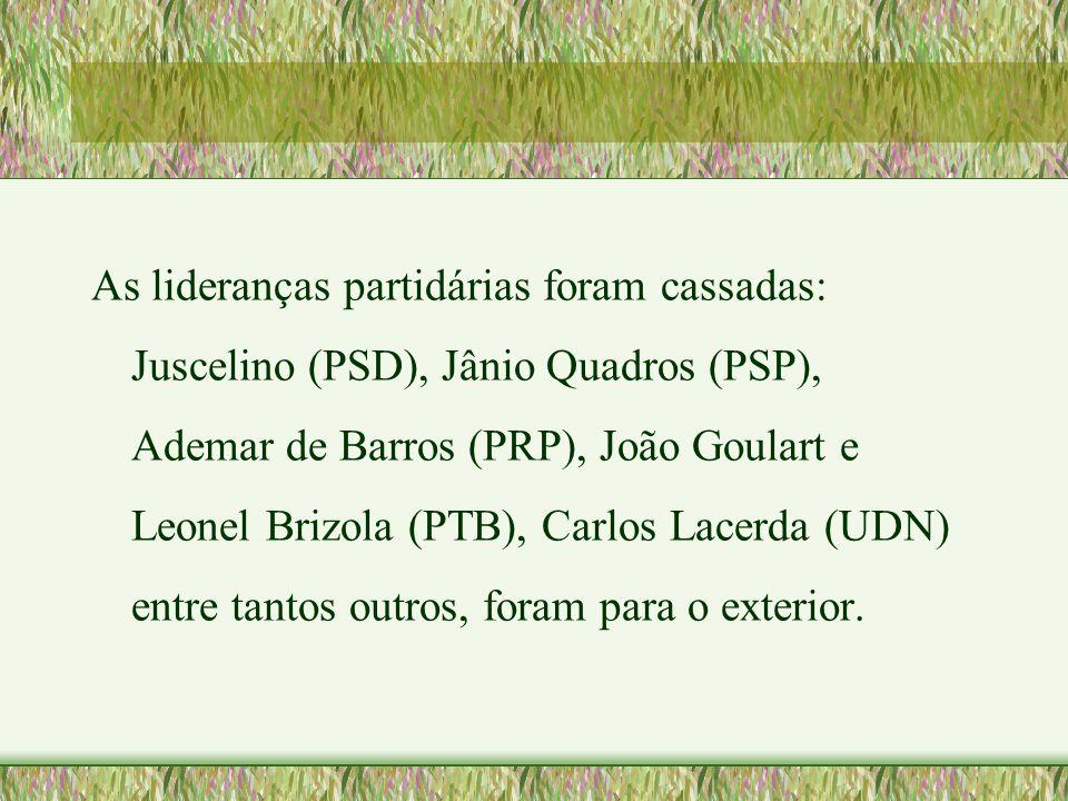 As lideranças partidárias foram cassadas: Juscelino (PSD), Jânio Quadros (PSP), Ademar de Barros (PRP), João Goulart e Leonel Brizola (PTB), Carlos La