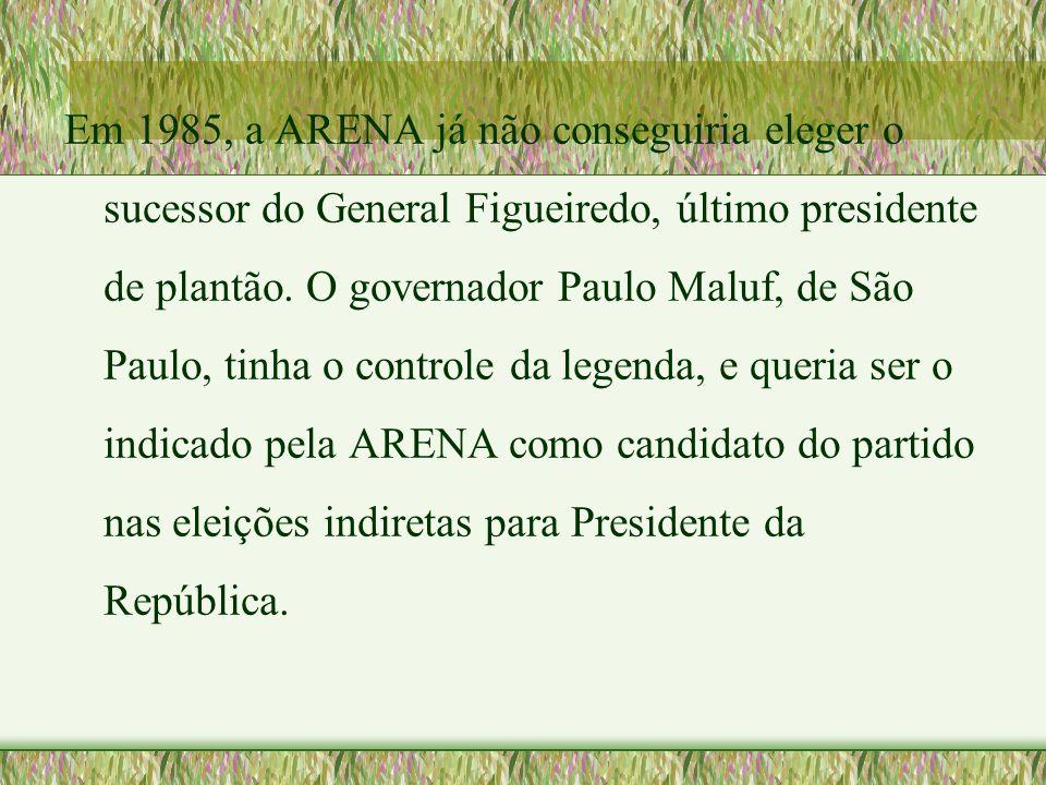 Em 1985, a ARENA já não conseguiria eleger o sucessor do General Figueiredo, último presidente de plantão. O governador Paulo Maluf, de São Paulo, tin