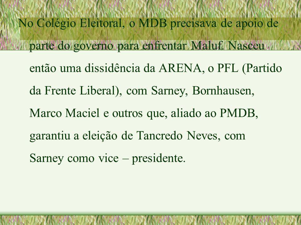 No Colégio Eleitoral, o MDB precisava de apoio de parte do governo para enfrentar Maluf. Nasceu então uma dissidência da ARENA, o PFL (Partido da Fren