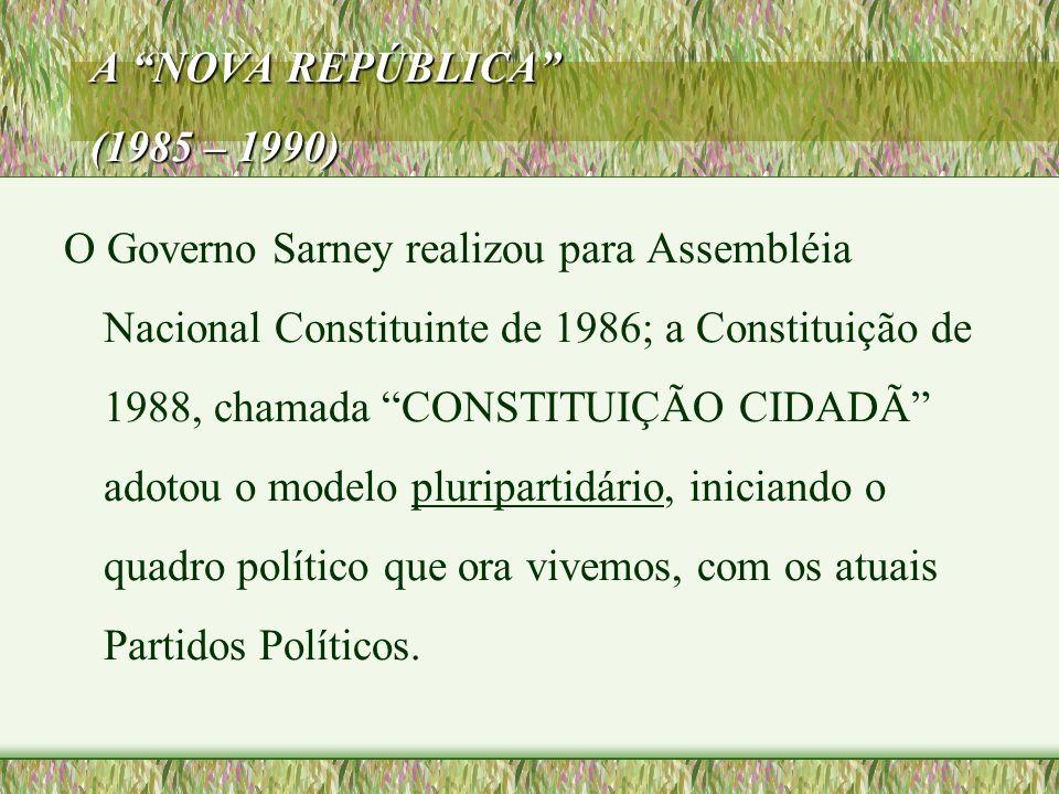 """A """"NOVA REPÚBLICA"""" (1985 – 1990) O Governo Sarney realizou para Assembléia Nacional Constituinte de 1986; a Constituição de 1988, chamada """"CONSTITUIÇÃ"""