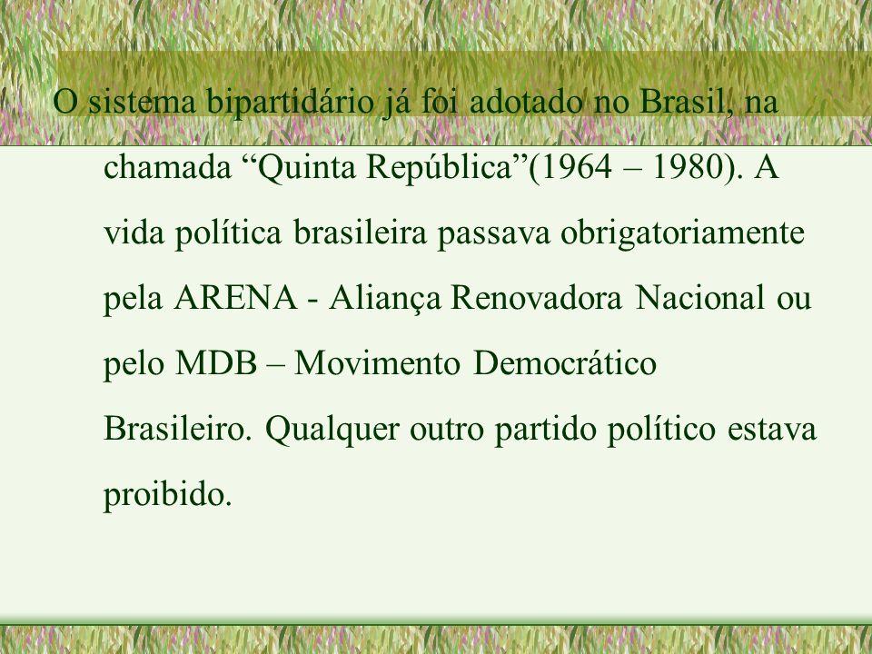 """O sistema bipartidário já foi adotado no Brasil, na chamada """"Quinta República""""(1964 – 1980). A vida política brasileira passava obrigatoriamente pela"""