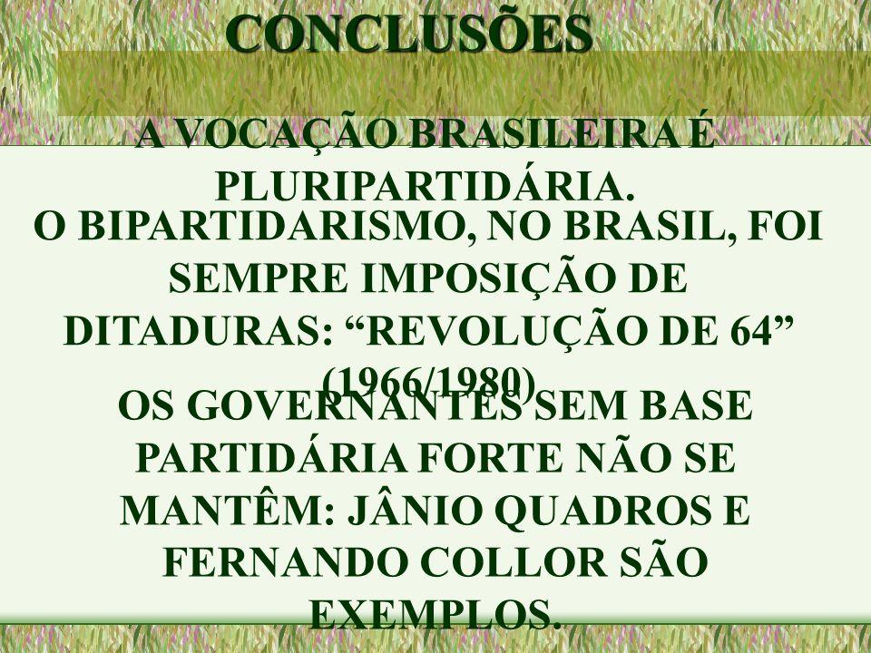 """A VOCAÇÃO BRASILEIRA É PLURIPARTIDÁRIA. O BIPARTIDARISMO, NO BRASIL, FOI SEMPRE IMPOSIÇÃO DE DITADURAS: """"REVOLUÇÃO DE 64"""" (1966/1980)CONCLUSÕES OS GOV"""