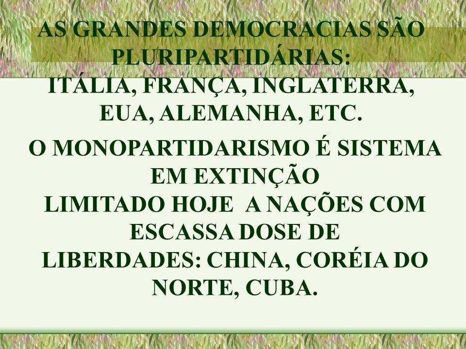 AS GRANDES DEMOCRACIAS SÃO PLURIPARTIDÁRIAS: ITÁLIA, FRANÇA, INGLATERRA, EUA, ALEMANHA, ETC. O MONOPARTIDARISMO É SISTEMA EM EXTINÇÃO LIMITADO HOJE A