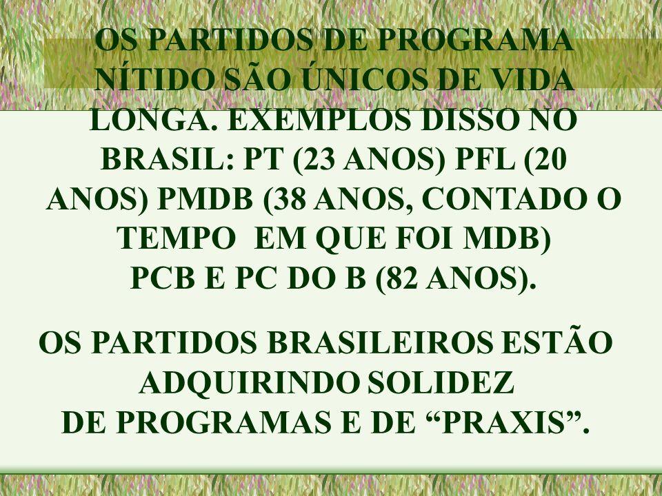 """OS PARTIDOS BRASILEIROS ESTÃO ADQUIRINDO SOLIDEZ DE PROGRAMAS E DE """"PRAXIS"""". OS PARTIDOS DE PROGRAMA NÍTIDO SÃO ÚNICOS DE VIDA LONGA. EXEMPLOS DISSO N"""