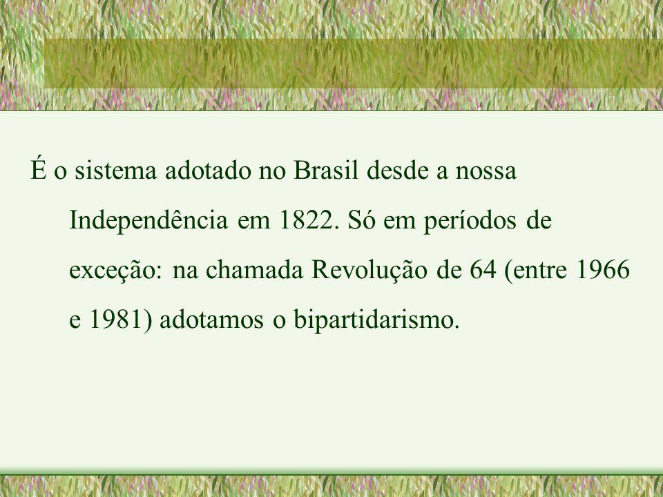 É o sistema adotado no Brasil desde a nossa Independência em 1822. Só em períodos de exceção: na chamada Revolução de 64 (entre 1966 e 1981) adotamos
