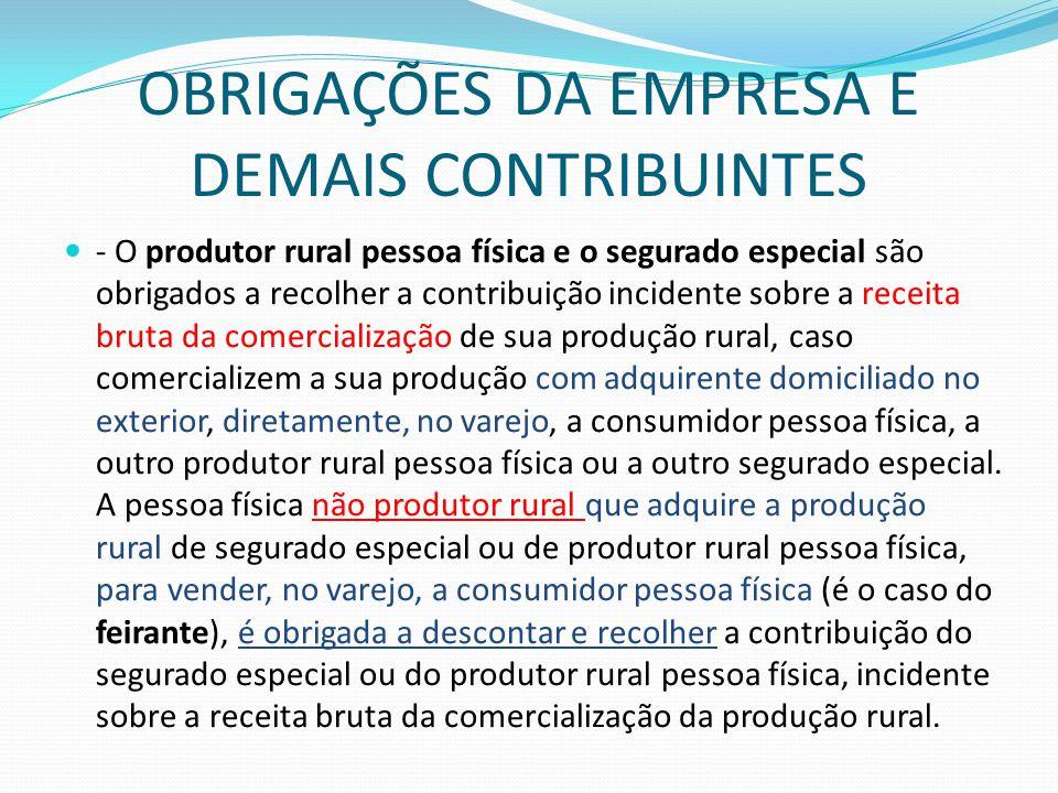OBRIGAÇÕES DA EMPRESA E DEMAIS CONTRIBUINTES  - O produtor rural pessoa física e o segurado especial são obrigados a recolher a contribuição incident