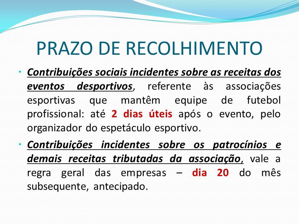 PRAZO DE RECOLHIMENTO – Contribuições sociais incidentes sobre as receitas dos eventos desportivos, referente às associações esportivas que mantêm equ