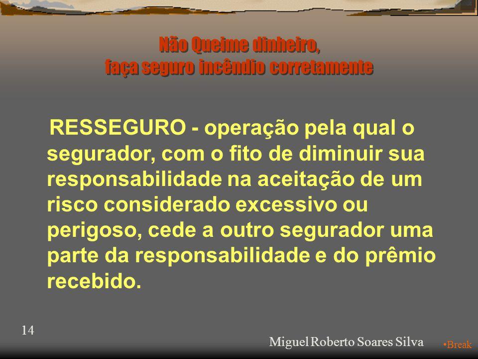 13 SEGURO ABCDE C o s s e g u ro Miguel Roberto Soares Silva Não Queime dinheiro, faça seguro incêndio corretamente