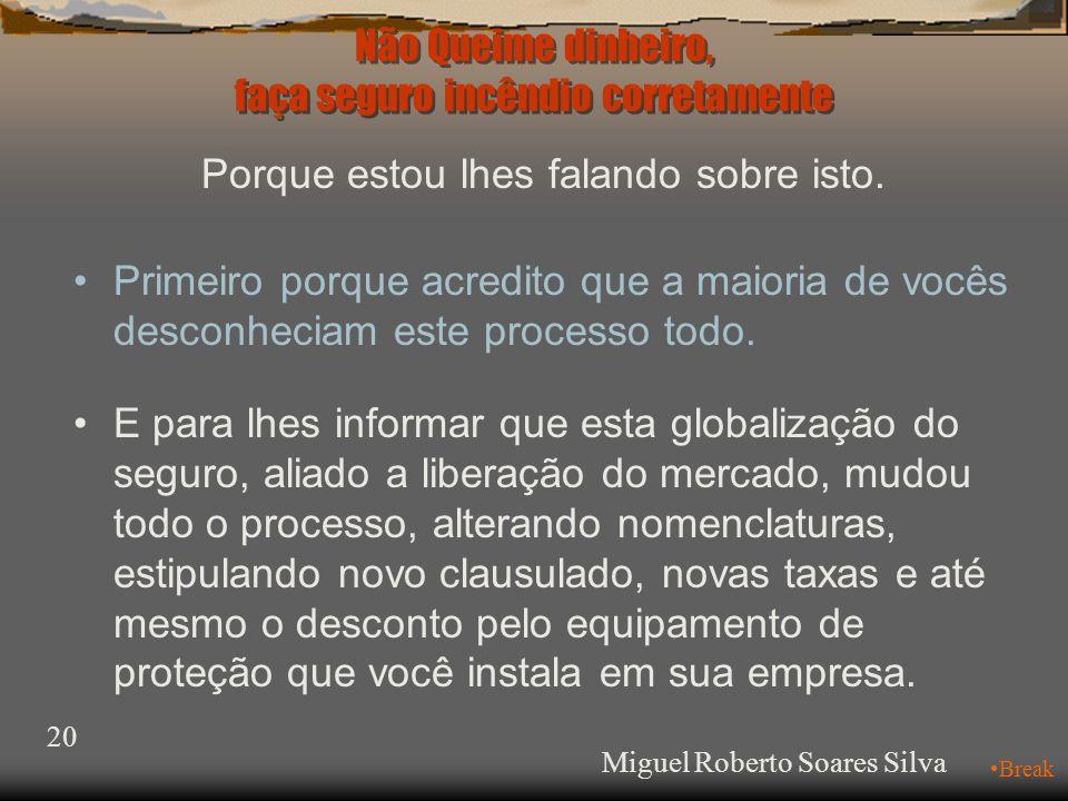 Não Queime dinheiro, faça seguro incêndio corretamente Miguel Roberto Soares Silva 20 •Break Porque estou lhes falando sobre isto.