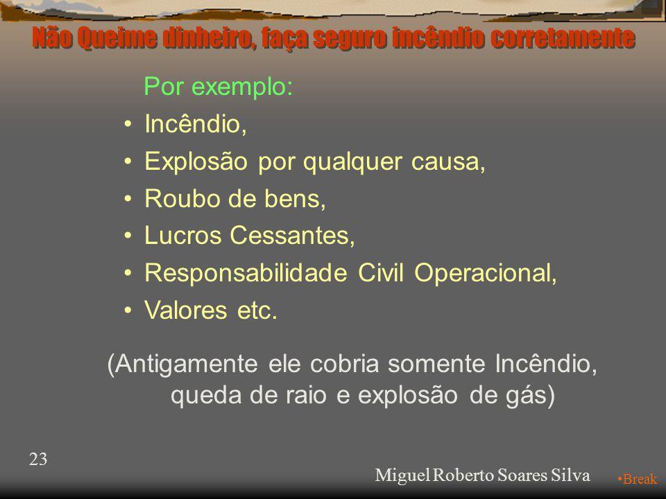 Não Queime dinheiro, faça seguro incêndio corretamente Miguel Roberto Soares Silva 23 •Break Por exemplo: •Incêndio, •Explosão por qualquer causa, •Roubo de bens, •Lucros Cessantes, •Responsabilidade Civil Operacional, •Valores etc.