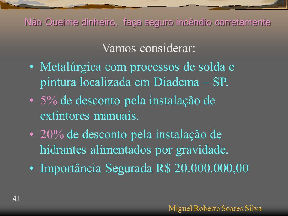 Vamos considerar: •Metalúrgica com processos de solda e pintura localizada em Diadema – SP.