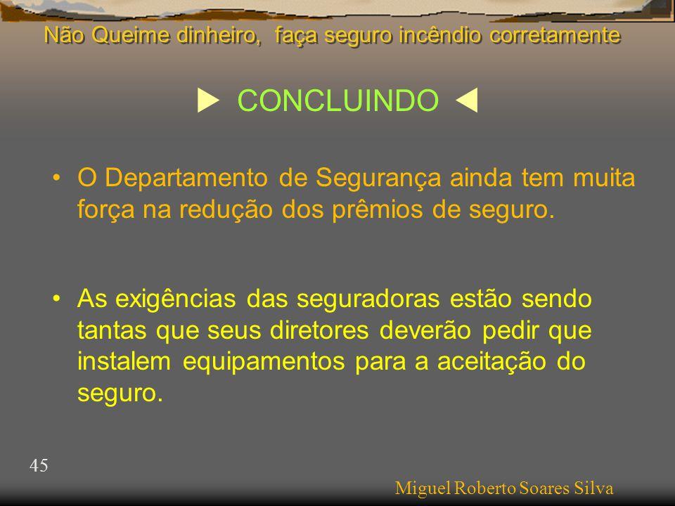  CONCLUINDO  Miguel Roberto Soares Silva 45 •O Departamento de Segurança ainda tem muita força na redução dos prêmios de seguro.