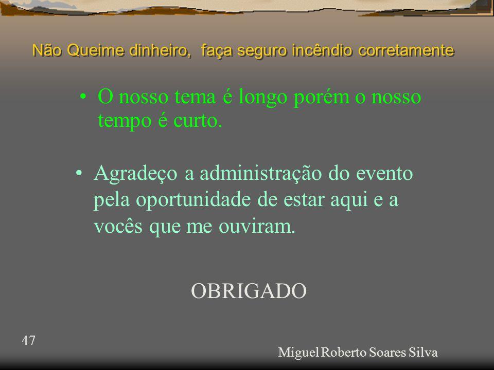 Miguel Roberto Soares Silva •O nosso tema é longo porém o nosso tempo é curto.