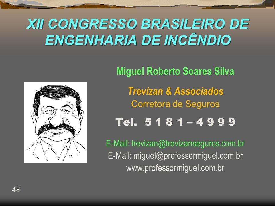 XII CONGRESSO BRASILEIRO DE ENGENHARIA DE INCÊNDIO Miguel Roberto Soares Silva Trevizan & Associados Corretora de Seguros Tel.