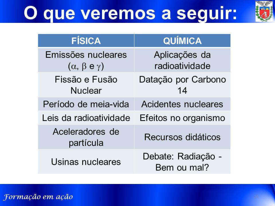 Formação em ação O que veremos a seguir: FÍSICAQUÍMICA Emissões nucleares ( ,  e  ) Aplicações da radioatividade Fissão e Fusão Nuclear Datação por